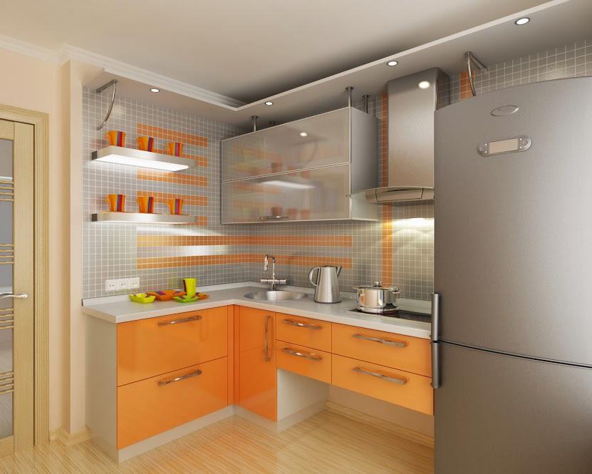 Дизайн кухни с подвесными шкафами